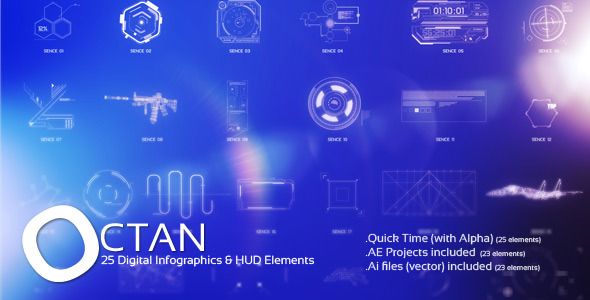Videohive OCTAN - 25 Digital Infographics HUD Elements Infographics 7069950
