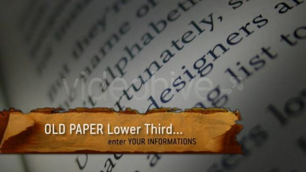 Videohive Old Paper Lower Third 117723