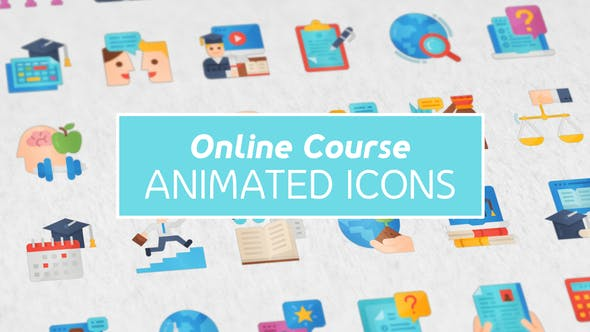 Videohive Online Course Modern Flat Animated Icons 26444411