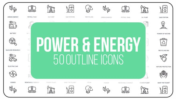 Videohive Power And Energy - 50 Thin Line Icons 23172135