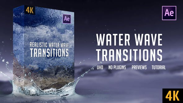 Videohive Realistic Water Wave Transitions 4K 25459202