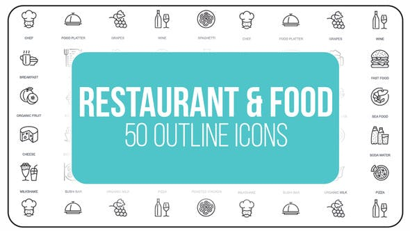 Videohive Restaurant and Sport - 50 Thin Line Icons 23172184