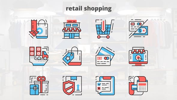 Videohive Retail Shoping - Thin Line Icons 23455727