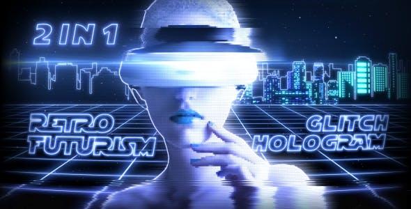 Videohive Retro Futurism Glitch Hologram (2 in 1) 20977524