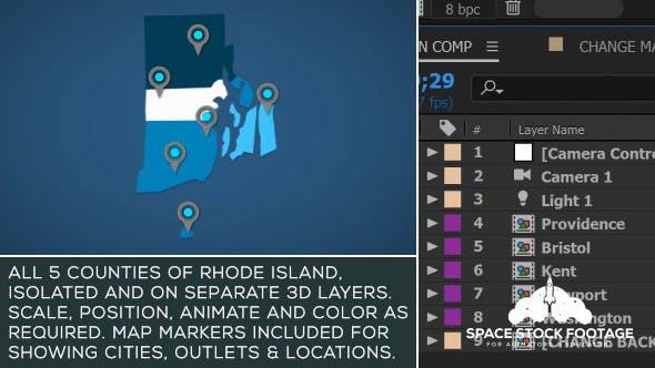 Videohive Rhode Island Map Kit 20876366