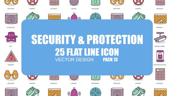 Videohive Security And Protection - Flat Animation Icons 23380958