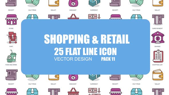 Videohive Shoping And Retail - Flat Animation Icons 23380866