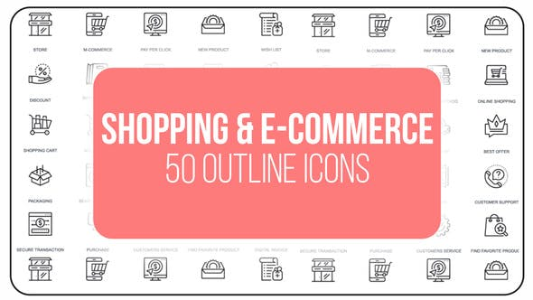 Videohive Shopping And Ecommerce - 50 Thin Line Icons 23172172