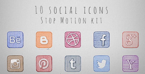Videohive Social Icons Stop Motion Kit 8870694