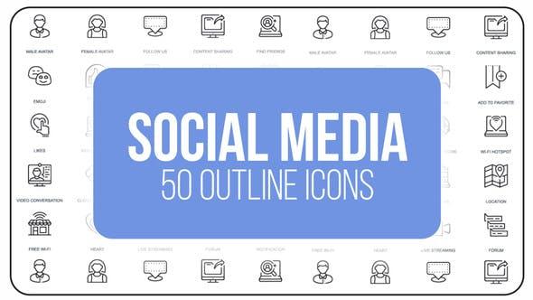 Videohive Social Media - 50 Thin Line Icons 23172157