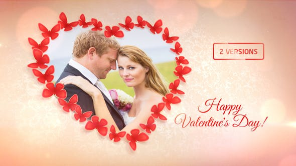 Videohive Sweet Butterflies Valentines Day Card 10341841