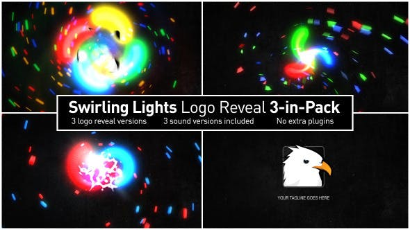 Videohive Swirling Lights Logo Reveal 3-in-Pack 6813791