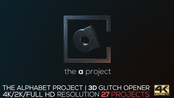Videohive The Alphabet Project 3D Glitch Opener 18239333