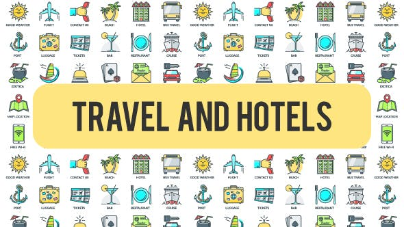 Videohive Travel And Hotels - 30 Animated Icons 21298299
