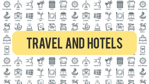 Videohive Travel And Hotels - Outline Icons 21291309