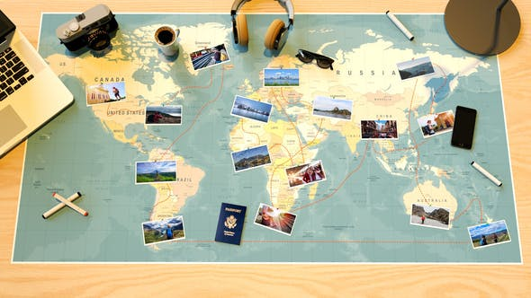 Videohive Travel Map Slideshow 22271846