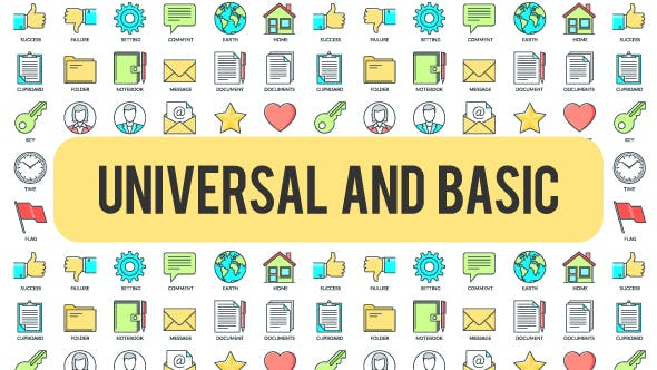Videohive Universal And Basic - 30 Animated Icond 21298295
