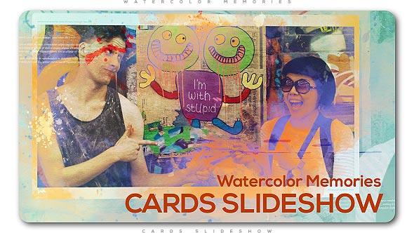 Videohive Watercolor Memories Cards Slideshow 20590519