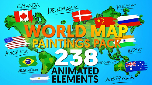 Videohive World Map Paintings Pack