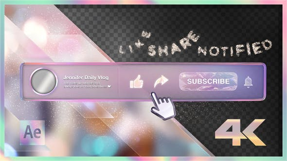 Videohive Youtube Subscribe Rainbow Glass Button 24289126