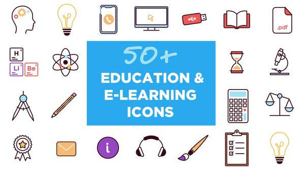 Videohive 50 Animated Icons for Education and E-learning 26768071