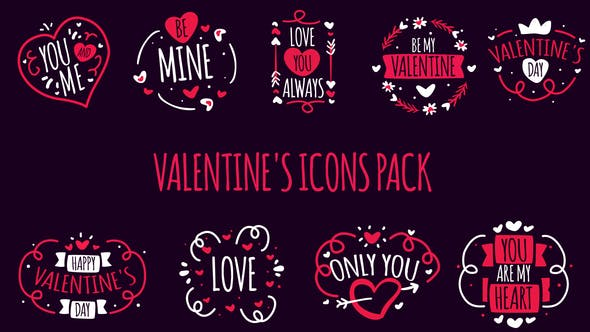 Videohive Valentines Icons Pack 23152462