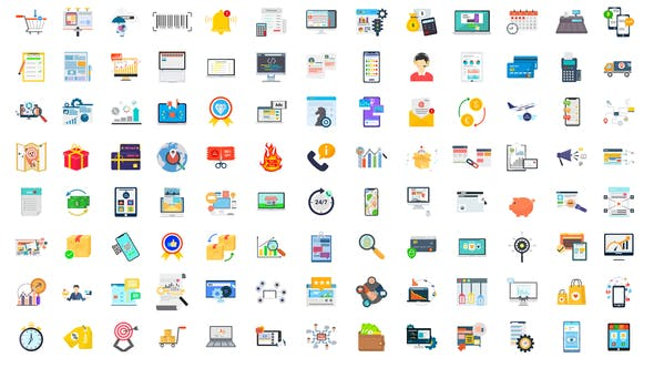 Videohive 100 Digital Marketing E-Commerce Icons 28780374