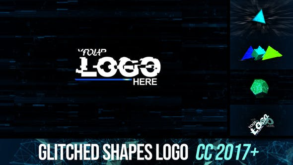 Videohive Glitched shapes logo intro 26209719