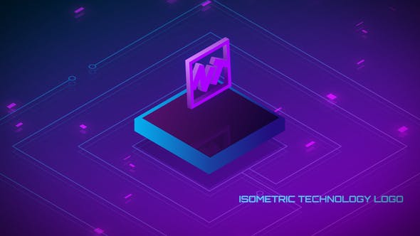 Videohive Looped Isometric Technology Logo 23181987