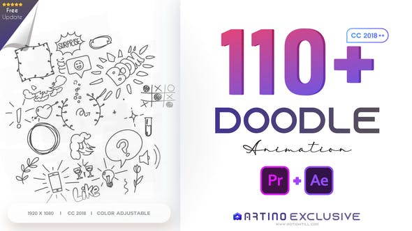 Videohive 110 Animated Doodles Pack 28732986