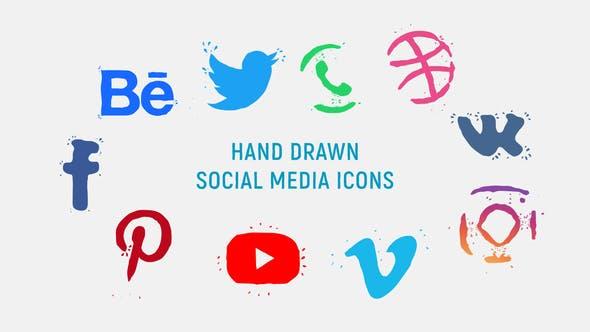 Videohive Hand Drawn Social Media Icons 23272911