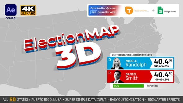 Videohive United States Election Map 3D 28786534