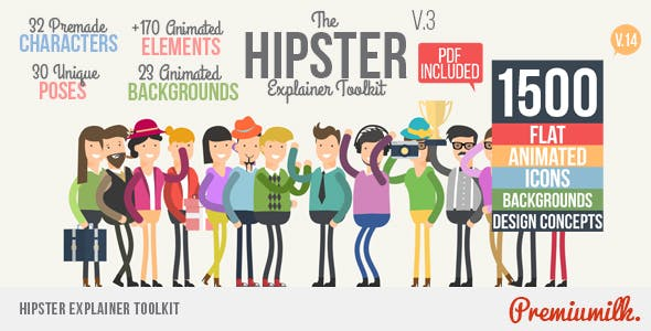 Videohive Hipster Explainer Toolkit - Flat Animated Icons Library 10981763